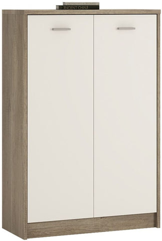 4 You Canyon Grey and Pearl White Cupboard - Tall 2 Door