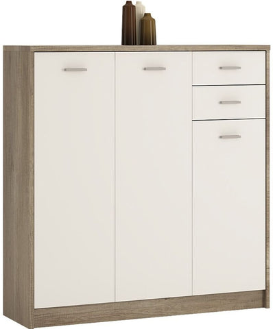 4 You Canyon Grey and Pearl White Cupboard - Tall 3 Door 2 Drawer