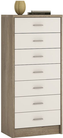 4 You Canyon Grey and Pearl White Narrow Cabinet - 7 Drawer