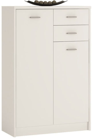 4 You Pearl White Cupboard - Tall 2 Door 2 Drawer