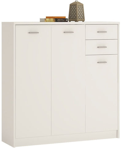 4 You Pearl White Cupboard - Tall 3 Door 2 Drawer
