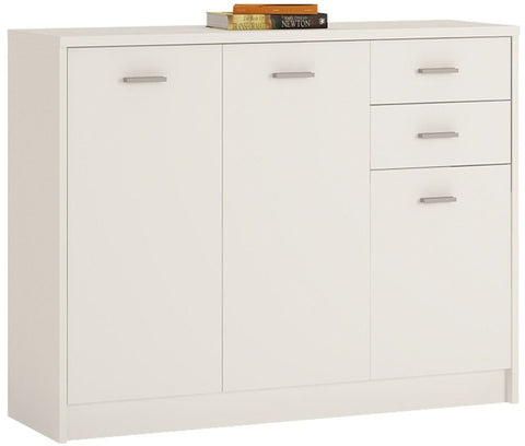 4 You Pearl White Cupboard - Wide 3 Door 2 Drawer