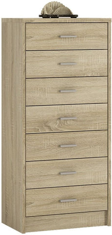 4 You Sonama Oak Chest of Drawers - 7 Narrow Drawer