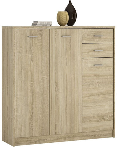 4 You Sonama Oak Cupboard - Tall 3 Door 2 Drawer