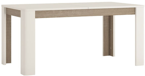 Chelsea White Gloss Dining Table with Truffle Oak Trim - Extending