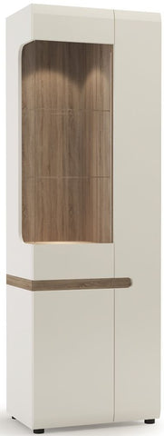 Chelsea White Gloss Glazed Display Unit with Truffle Oak Trim - Tall Narrow Right Hand Door
