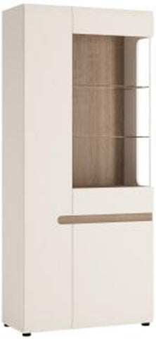 Chelsea White Gloss Glazed Display Unit with Truffle Oak Trim - Tall Wide Left Hand Door