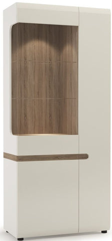 Chelsea White Gloss Glazed Display Unit with Truffle Oak Trim - Tall Wide Right Hand Door