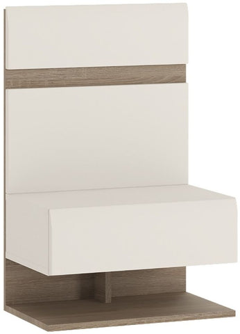 Chelsea White High Gloss Bedside Extension with Truffle Oak Trim