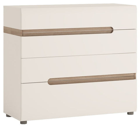 Chelsea White High Gloss Chest of Drawers with Truffle Oak Trim - 4 Drawer