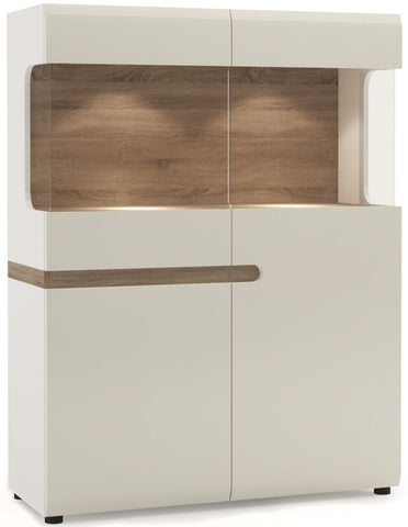 Chelsea White High Gloss Display Cabinet with Truffle Oak Trim - Wide