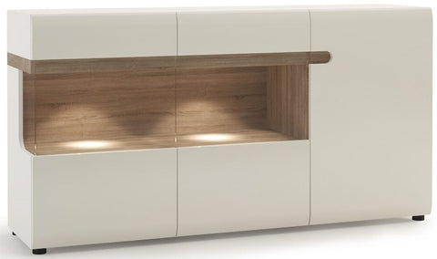 Chelsea White High Gloss Glazed Sideboard with Truffle Oak Trim - 3 Door