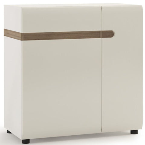 Chelsea White High Gloss Sideboard with Truffle Oak Trim - Wide 2 Door 1 Drawer