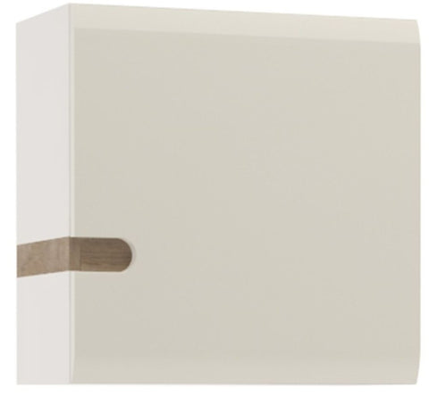 Chelsea White High Gloss Wall Cupboard with Truffle Oak Trim - 1 Door