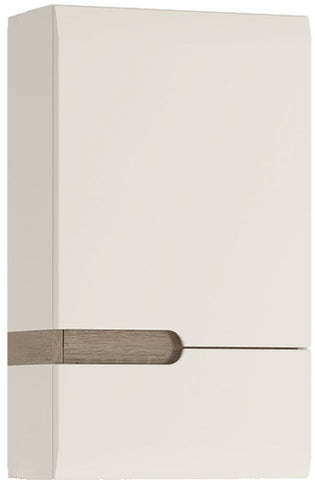 Chelsea White High Gloss Wall Cupboard with Truffle Oak Trim - 1 Right Hand Door