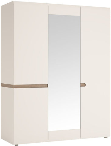 Chelsea White High Gloss Wardrobe with Mirror and Truffle Oak Trim - 3 Door
