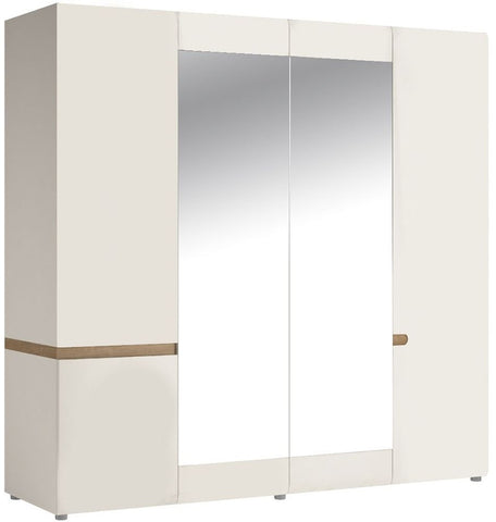 Chelsea White High Gloss Wardrobe with Mirror and Truffle Oak Trim - 4 Door