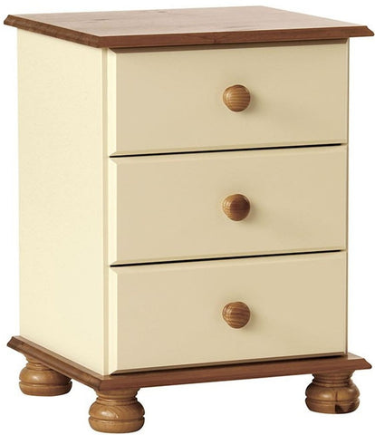 Copenhagen Cream Bedside Cabinet - 3 Drawer