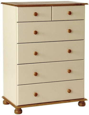 Copenhagen Cream Chest of Drawers - 2+4 Deep Drawer
