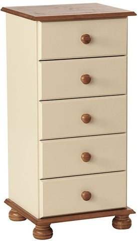 Copenhagen Cream Chest of Drawers - 5 Narrow Drawer