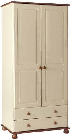 Copenhagen Cream Wardrobe - 2 Door 2 Drawer
