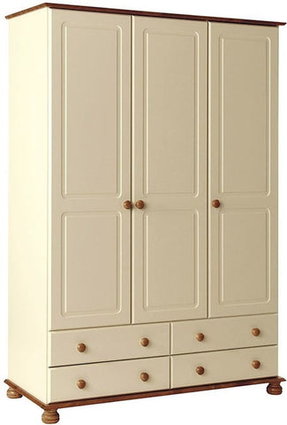 Copenhagen Cream Wardrobe - 3 Door 4 Drawer