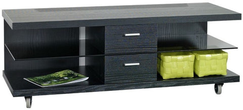 Designa Black Ash TV Unit with Glass Shelf on Wheels