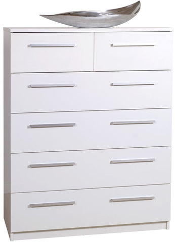 Designa White Chest of Drawers - 2+4 Drawer