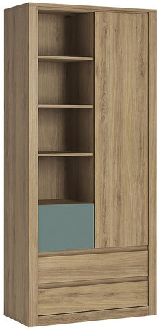 Hobby Oak Melamine Turquoise Open Shelving Cabinet - Tall 1 Door 3 Drawer