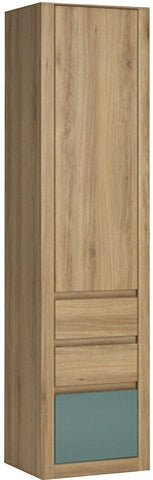 Hobby Oak Melamine Turquoise Storage Cabinet - Tall 1 Door 3 Drawer
