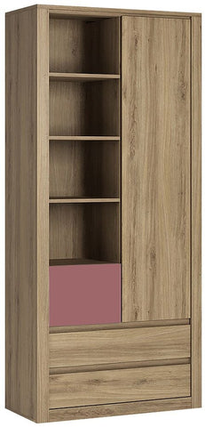 Hobby Oak Melamine Violet Open Shelving Cabinet - Tall 1 Door 3 Drawer