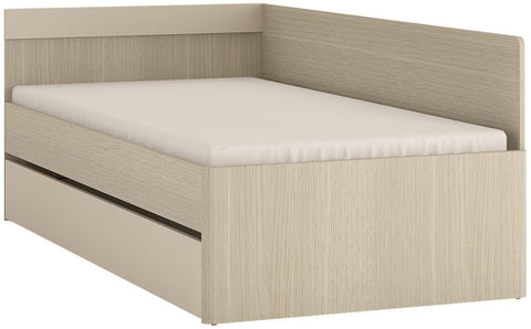 Holiday Light Oak Plover Cream Melamine Bed with Under Drawer- Single