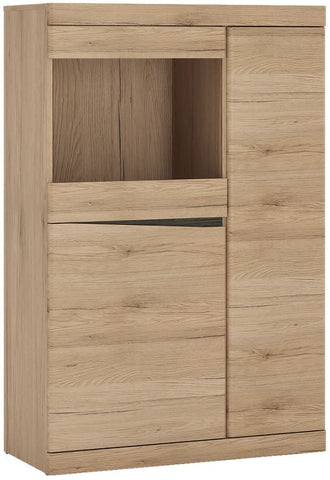 Kensington Oak Glazed Cabinet - 3 Door