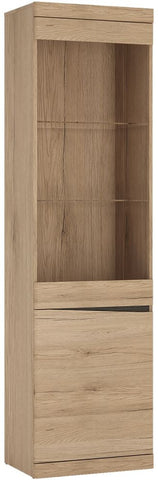 Kensington Oak Glazed Display Cabinet - Tall Narrow 2 Left Hand Door