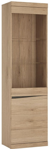 Kensington Oak Glazed Display Cabinet - Tall Narrow 2 Right Hand Door