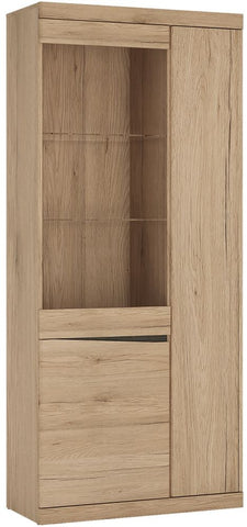 Kensington Oak Glazed Display Cabinet - Tall Wide 3 Door