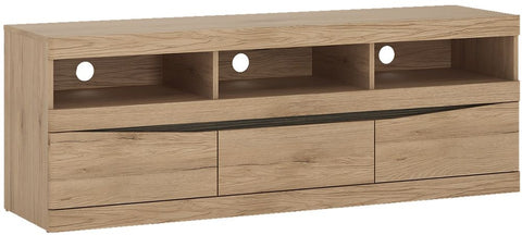 Kensington Oak TV Unit - Wide 3 Drawer