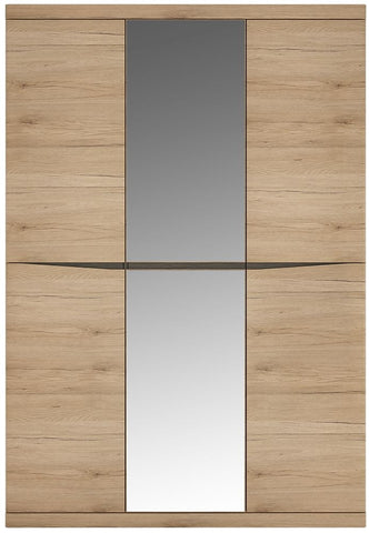 Kensington Oak Wardrobe - 3 Door with Centre Mirror Door
