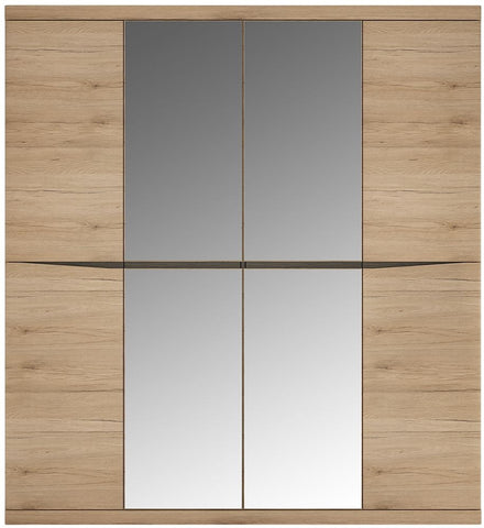 Kensington Oak Wardrobe - 4 Door with 2 Mirror Door