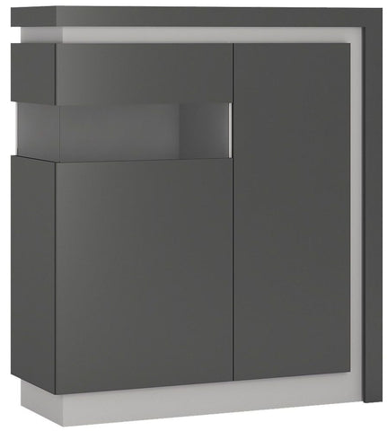 Lyon Platinum and Light Grey Gloss Designer Cabinet - 2 Door Left Hand (Including LED Lighting)