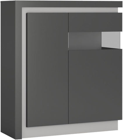 Lyon Platinum and Light Grey Gloss Designer Cabinet - 2 Door Right Hand (Including LED Lighting)