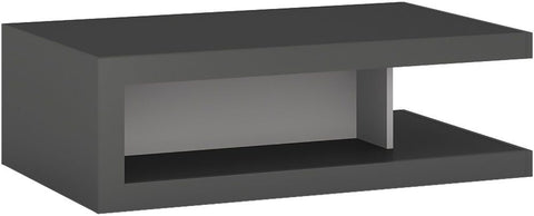 Lyon Platinum and Light Grey Gloss Designer Coffee Table On Wheels