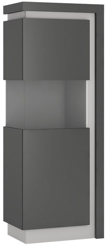 Lyon Platinum and Light Grey Gloss Display Cabinet - Large Narrow Left Hand (Including LED Lighting)