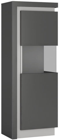 Lyon Platinum and Light Grey Gloss Display Cabinet - Large Narrow Right Hand (Including LED Lighting)