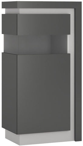 Lyon Platinum and Light Grey Gloss Display Cabinet - Small Narrow Left Hand (Including LED Lighting)