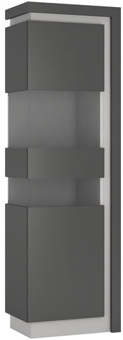 Lyon Platinum and Light Grey Gloss Display Cabinet - Tall Narrow Left Hand (Including LED Lighting)
