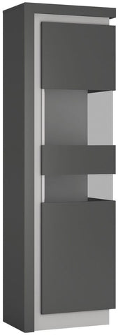 Lyon Platinum and Light Grey Gloss Display Cabinet - Tall Narrow Right Hand (Including LED Lighting)