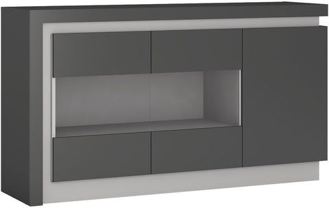 Lyon Platinum and Light Grey Gloss Glazed Sideboard - 3 Door (Including LED Lighting)
