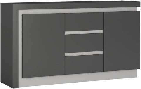 Lyon Platinum and Light Grey Gloss Sideboard - 2 Door 3 Drawer (Including LED Lighting)