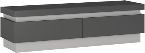 Lyon Platinum and Light Grey Gloss TV Cabinet - 2 Drawer (Including LED Lighting)